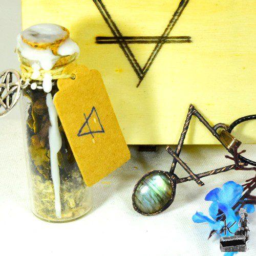 Tresor box Terre avec pendentif et spell jar dédiée