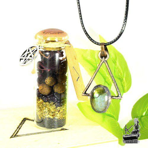Tresor Box pour l'élement feu avec pendentif et spell jar