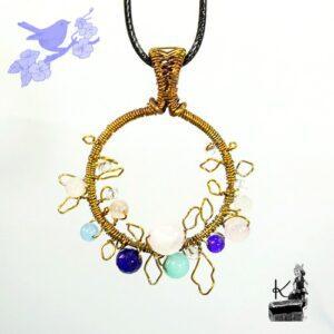 Pendentif faye en cuivre naturel avec perles