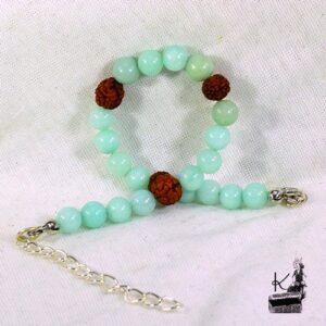 Bracelet lithotherpie en amazonite et rudraksha pour la confiance