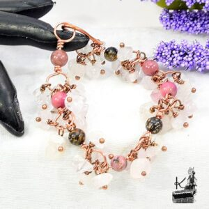 Bracelet Swan en quartz rose et en rhodonite