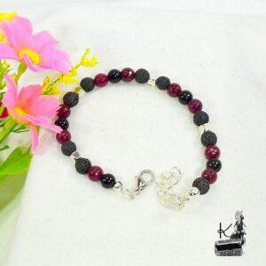 Bracelet rhosyn en grenat, tourmaline noire et lave pour la protection et la confiance