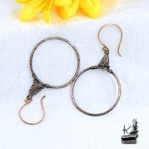 Boucles d'oreille Hobri en cuivre naturel