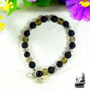 bracelet en pierres vulcain en lave, quartz fumé et tourmaline noire