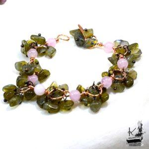 Bracelet Boécia en quartz rose et en labradorite