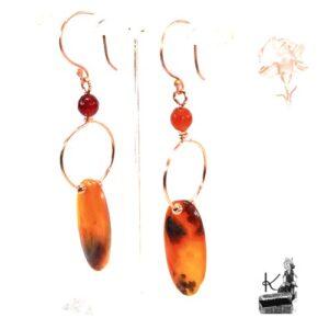boucles d'oreille kazuo en agate et cornaline
